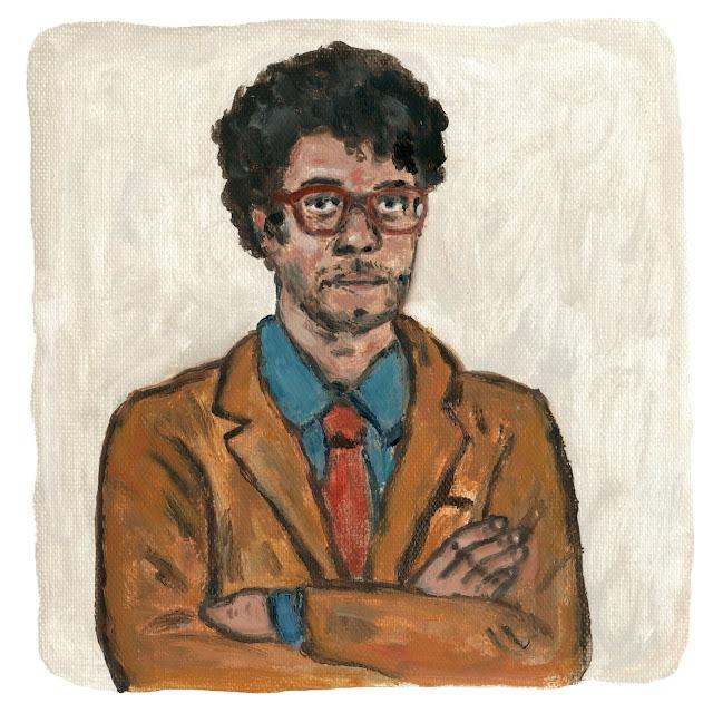 Richard Ayoade Portrait Illustration Oil painting リチャード・アイオアディ イラスト Nozomi Koh artwork