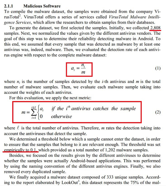 """Ejemplo de fórmula con la que se intenta construir un dataset de malware más """"preciso"""" imagen"""