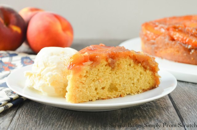 Peach Upside Down Cake recipe is a Southern favorite for dessert or brunch from Serena Bakes Simply From Scratch.