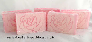 gießseife rose technik relief inlay rosenseife stampin up stempel und framelts rosengarten rosenzauber mit flirty flamingo geschenk verpackung pillowbox