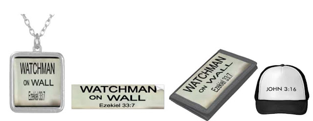 Bible Prophecy Watchman on Wall gift items and John 3:16 hat