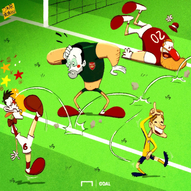 Griezmann and Arsenal clowns cartoon