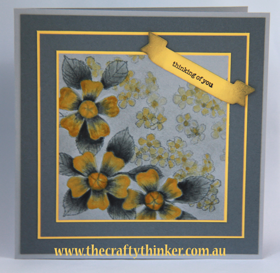 SU, Birthday Blossoms, #GDP025, Watercolouring, yellow and grey,handmade card, masking