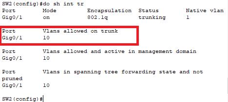 interface trunk setelah difilter