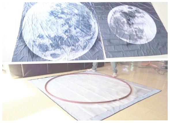 luna, cortinas de ducha, decoración, mural, manualidades