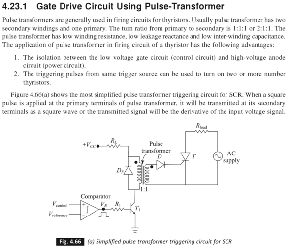 SCR-Gate drive circuit of SCR with isolation using Pulse Transformer