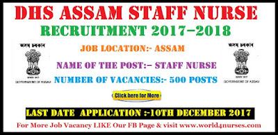 DHS Assam Staff Nurse Recruitment 2017 – 2018