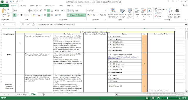 project complexity and risk assessment excel template