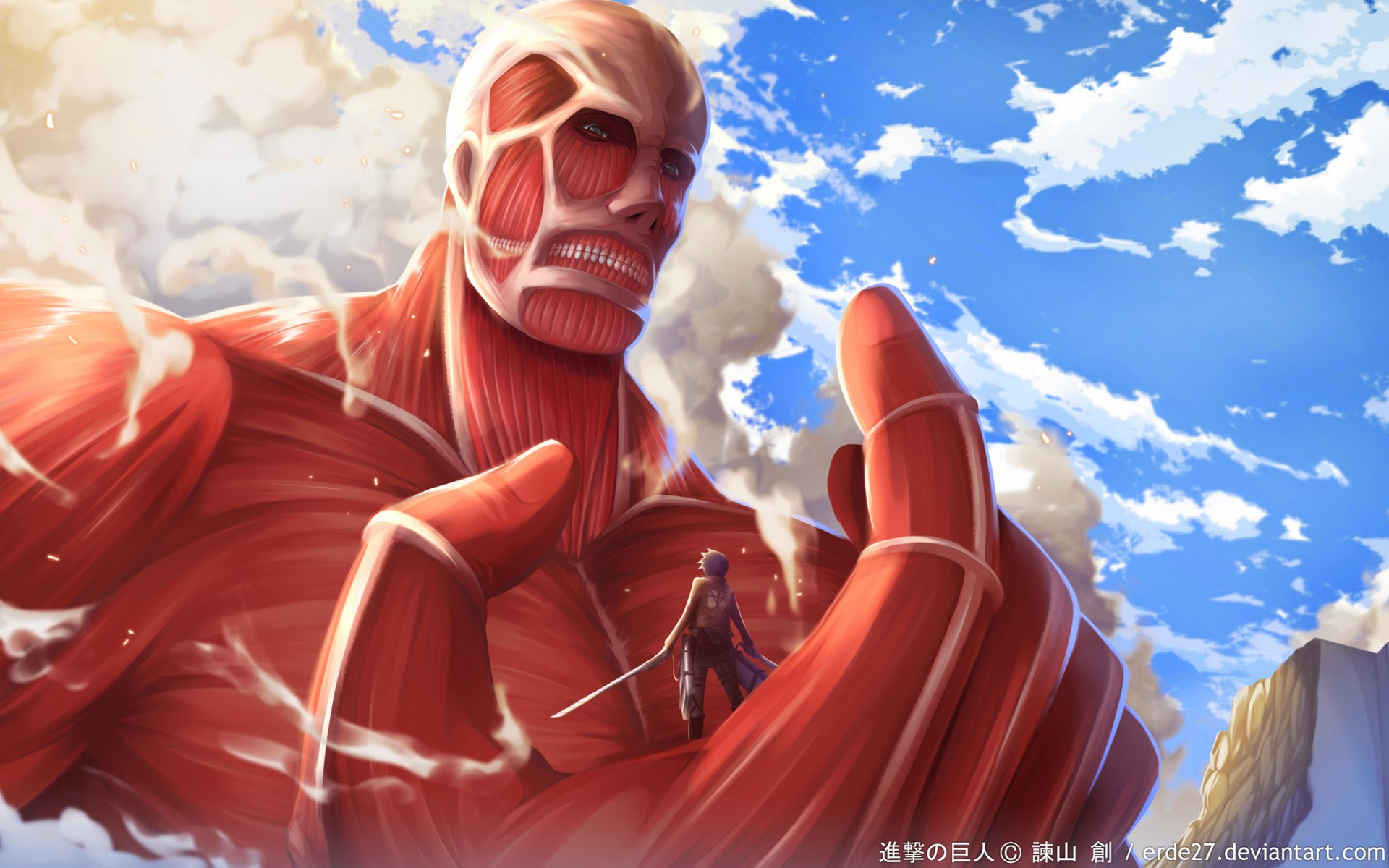 Colossal Titan and Eren 6t Wallpaper HD