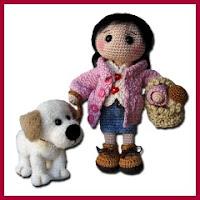 Amigurumi muñeca con perrito