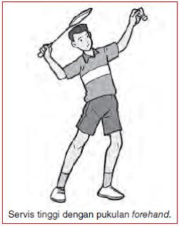 servis tinggi dengan pukulan forehand