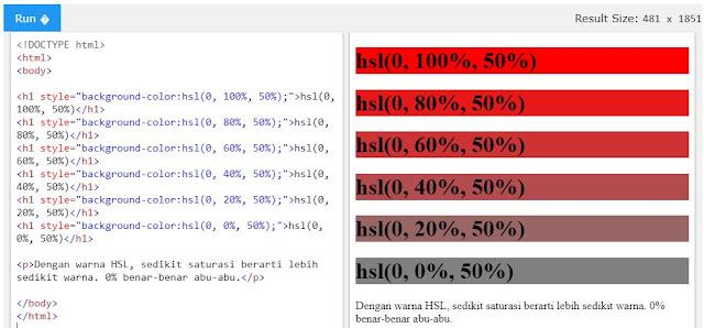 Nilai HSL pada HTML