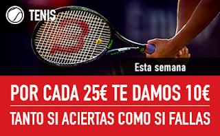 sportium Promo Tenis: Por cada 25€ ¡Te damos 10€! 19-25 marzo