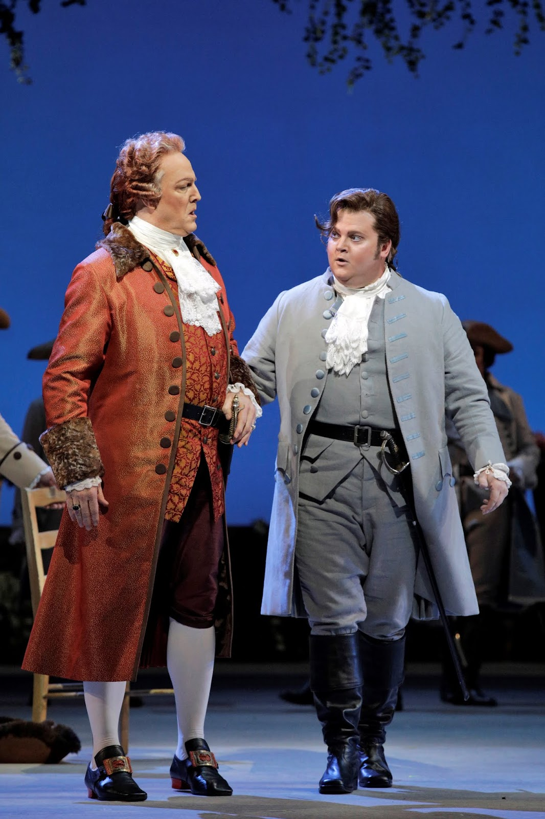 IN REVIEW: bass-baritone PHILIP SKINNER as Geronte (left) and baritone ANTHONY CLARK EVANS as Lescaut (right) in San Francisco Opera's November 2019 production of Giacomo Puccini's MANON LESCAUT [Photograph by Cory Weaver, © by San Francisco Opera]
