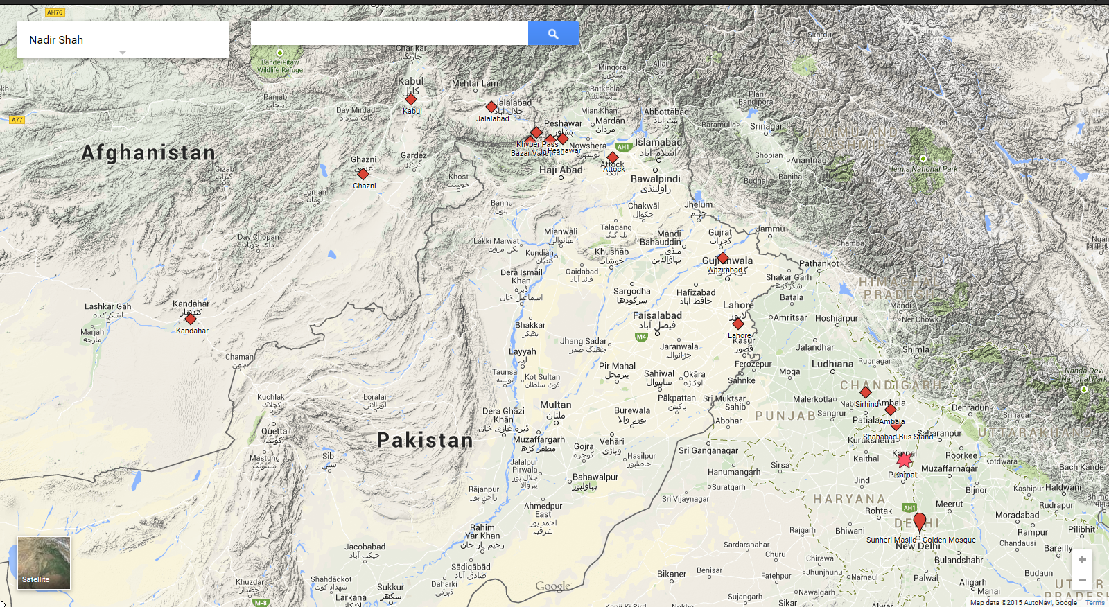 Route of Nadir Shah