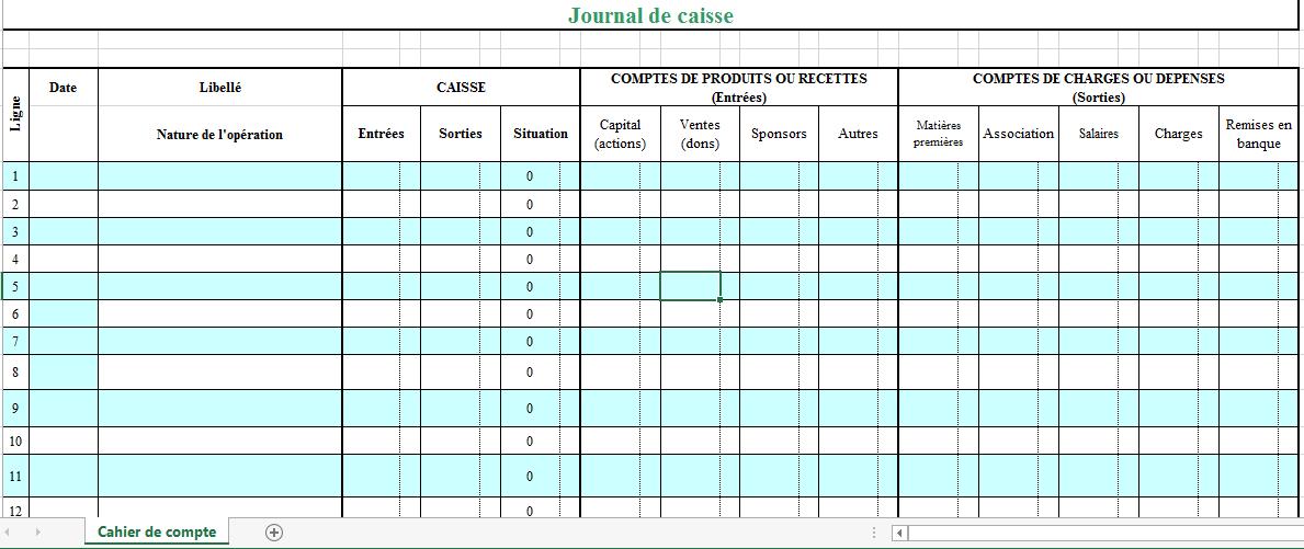 Télécharger Modele Journal De Caisse Exel ~ Doc Document