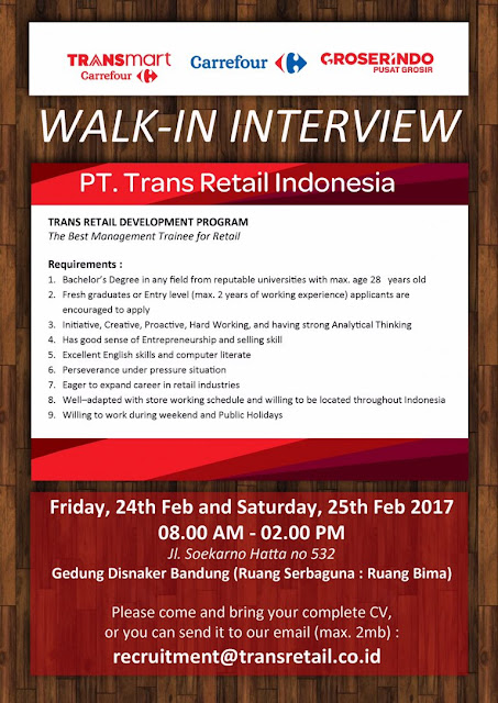 Walk In Interview PT Trans Retail Indonesia Fresh Graduate