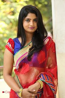 Actress Mounica Pictures in Saree at Tholi Kiranam Press Meet 0002