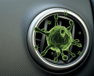bacteria, car air vent, green bacteria coming from vent