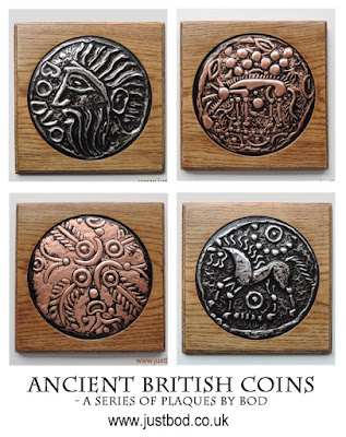 Hand sculpted celtic coin plaques