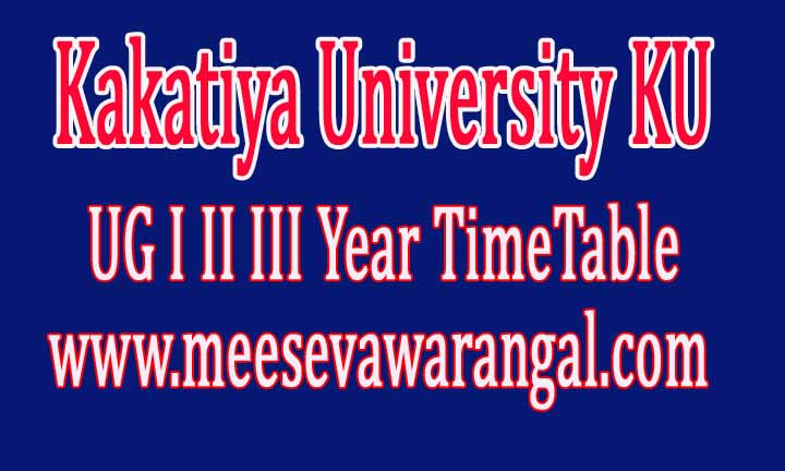 Kakatiya University KU UG I II III Year Supply Timetable 2016