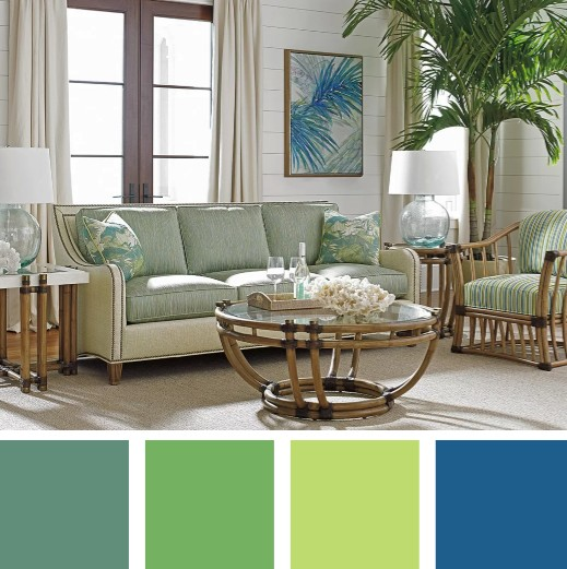 Tropical Island Green Blue Color Palette Living Room Decor Idea