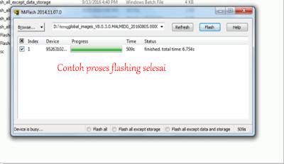 contoh proses flashing selesai