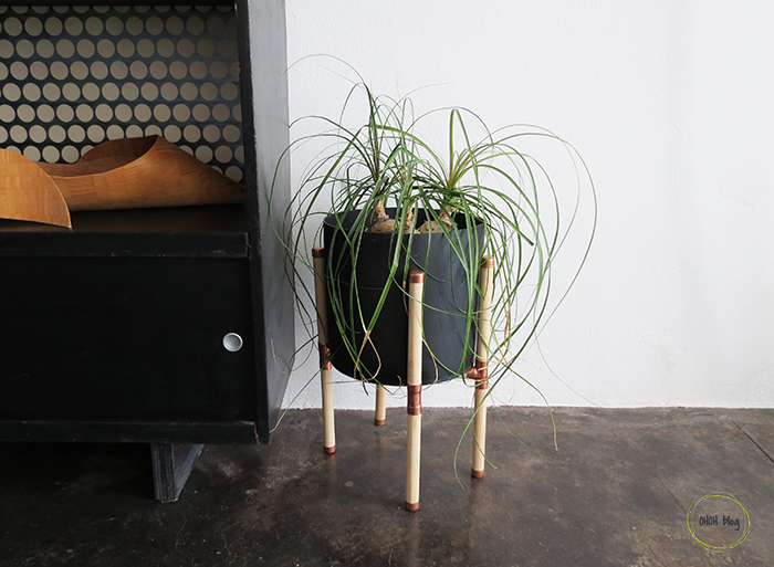 DIY copper and wood plant stand