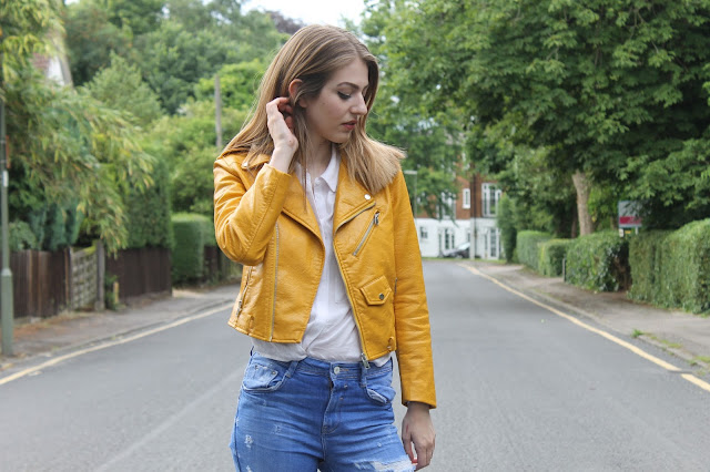 Zara yellow biker Jacket