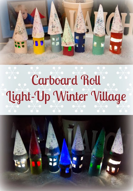 How to Create a Beautiful Light-up Winter Village with Cardboard Tubes