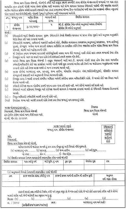 Jilla Gram Vikas Agency Morbi Recruitment 2016
