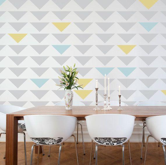 Pintura de parede, pintura artistica para parede, listras na parede, triangulos na parede, pintura artistica em parede de interiores, como fazer chevron na parede,