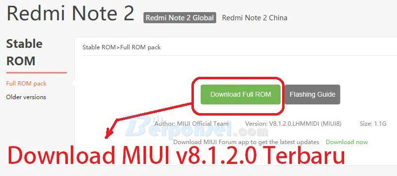 Cara Upgrade MIUI v81.1.2.0 redmi Note 2 Terbaru