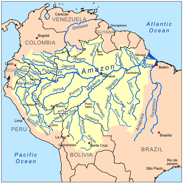 Amazon River Basin (the southern Guianas, not marked on this map, are part of the basin)