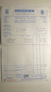 Moores of Brighton parts Invoice from 1972