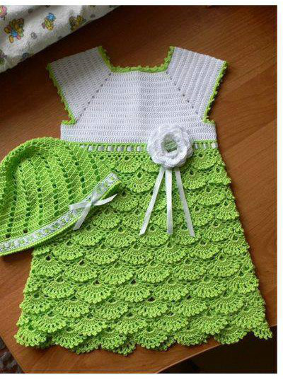 CUTE CROCHET DRESS FOR BABIES WITH FREE STANDARD