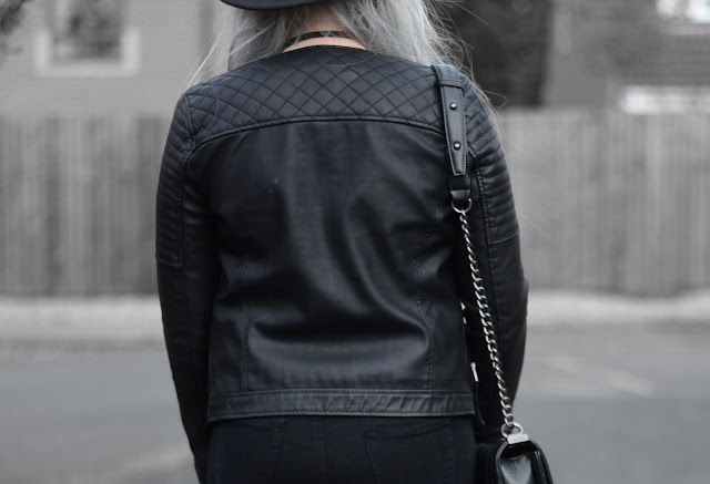 Sammi Jackson - Black Primark Fedora, Zaful Sunglasses, Topshop Biker Jacket, Sheer Mesh Top, Choies Fishnets, Choies Ripped Jeans, Oasap Quilted Bag, WHolesale 7 Buckled Boots