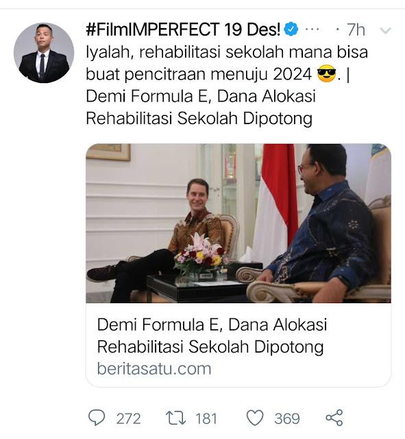 Anies Formula E potong anggaran rehabilitasi sekolah hoax