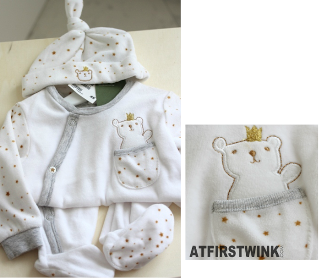 H&M white baby clothing with gold stars and bear plus a hat