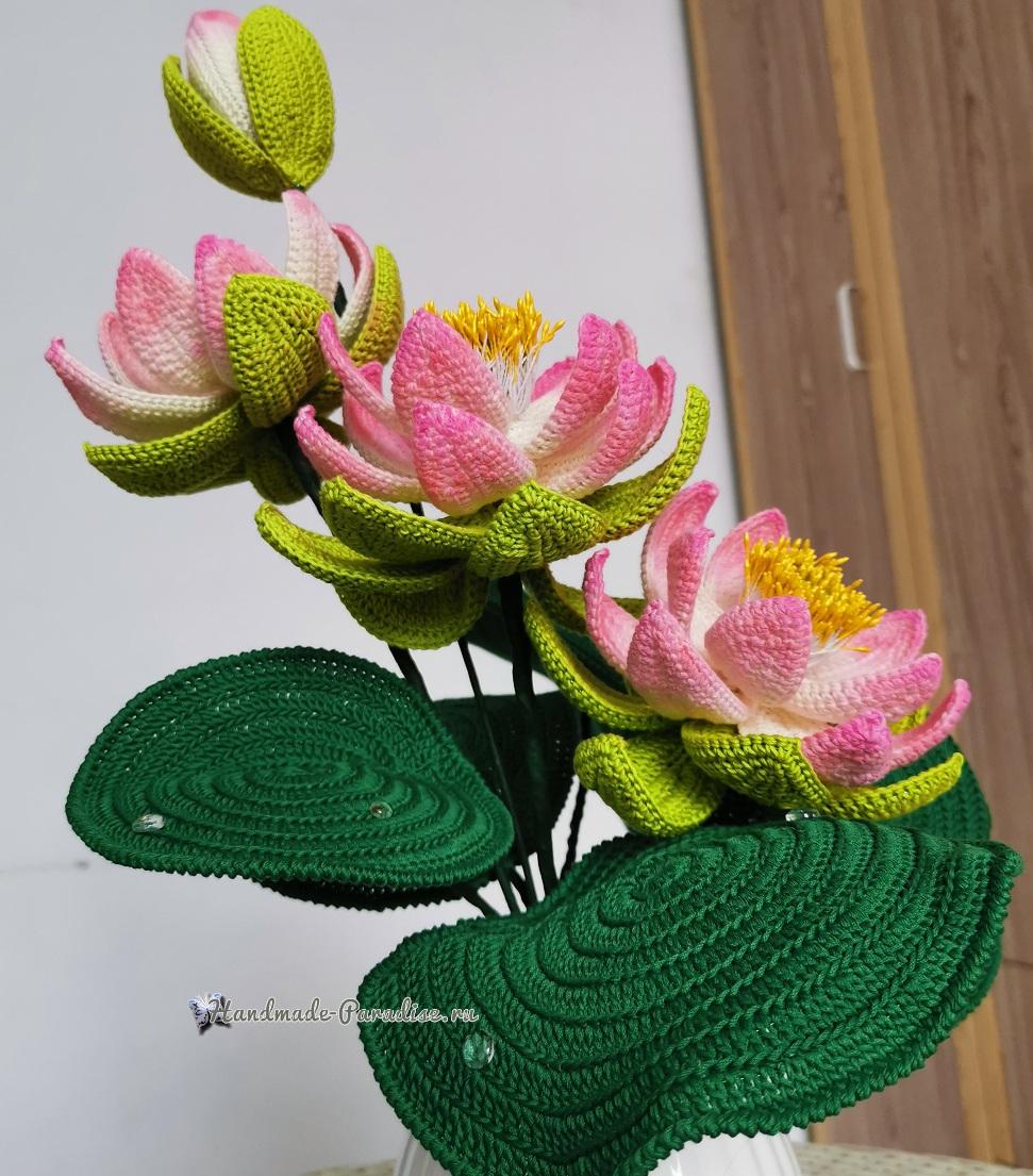 Большие цветы крючком - букет лотосов (3)