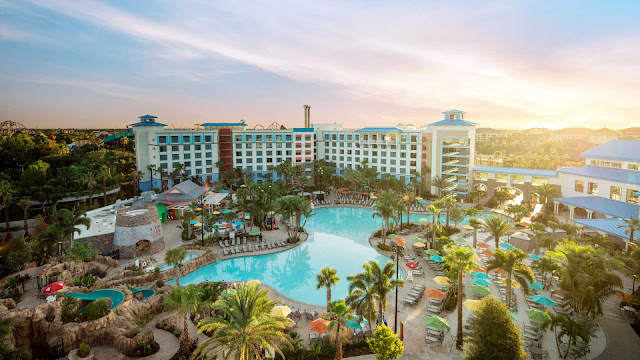 Enjoy a colorful and casual Caribbean inspired Hideaway at Universal's Loews Sapphire Falls Resort in Orlando. Featuring a resort-style pool surrounded by cascading waterfalls as its centerpiece, Loews Sapphire Falls Resort captivates at every turn.