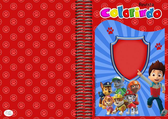 Carátula para Libro de Colorear de Fiesta de Paw Patrol Para Imprimir Gratis.