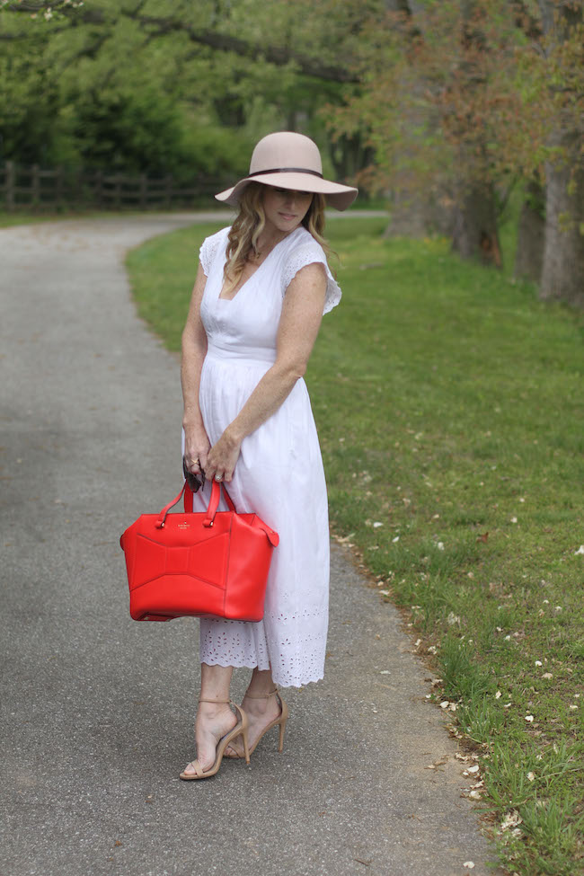 floppy hat, white summer dress, summer sandals