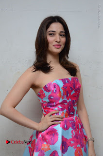 Actress Tamanna Latest Images in Floral Short Dress at Okkadochadu Movie Promotions  0110.JPG