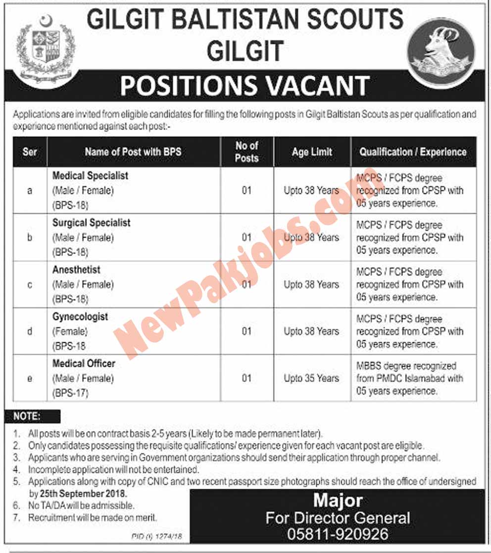 Gilgit Baltistan Scouts Government  Jobs 2018