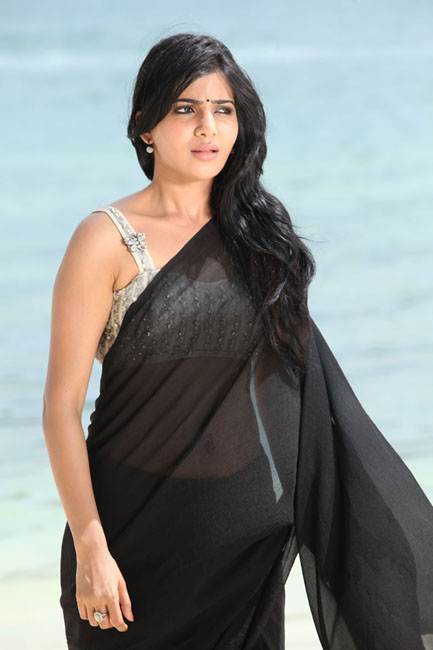 etnic and decorative Sexy samantha black transparent saree