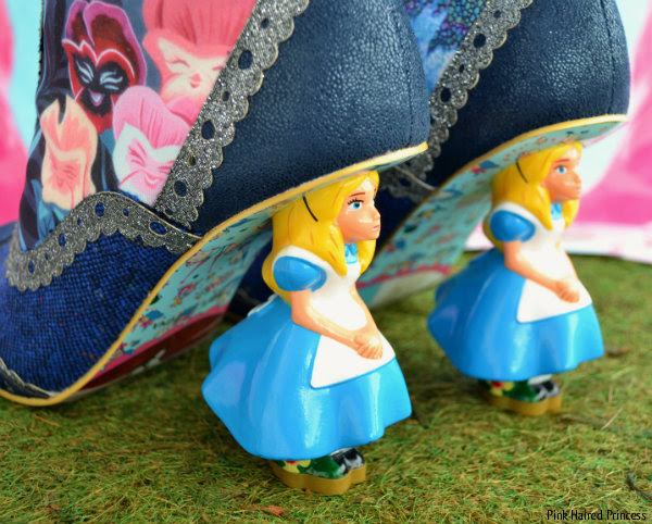 close up of Alice character heels on Irregular Choice boots