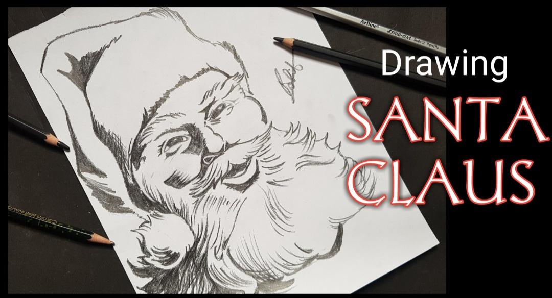 Artofrohit com: How to draw SANTA CLAUS with pencils on