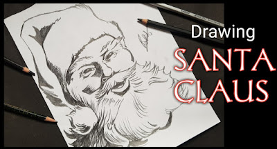 How to draw Santa Claus, step by step tutorial for to draw Santa Claus, potrait drawing tutorial, easy drawing of Santa Claus, how to draw santa, easy step tutorial for to draw Santa Claus
