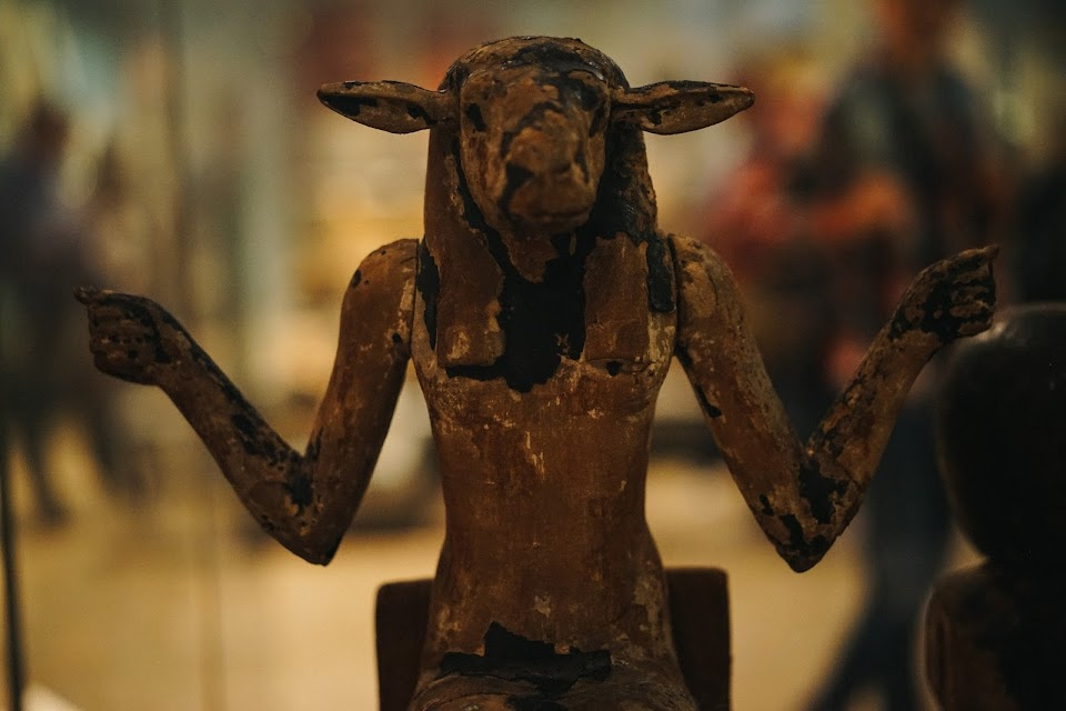 Wooden figure of a ram